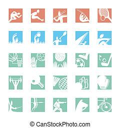 couleur, sport, ensemble, icône