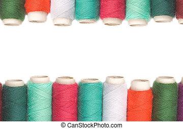 couleur, sur, fil, bobines, fond, blanc