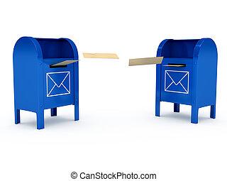 couleur, sur, métal, boîte lettres, fond, blanc