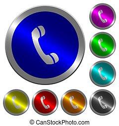 couleur, téléphone, boutons, appeler, coin-like, lumineux, rond