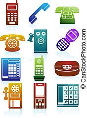 couleur, téléphone, icônes