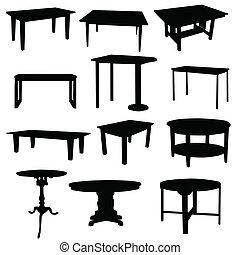 couleur, tables, silhouette, maison, noir