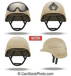 couleur, tactique, désert, ensemble, militaire, casques