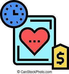 couleur, temps, coeur, icône, vecteur, illustration, coût, ...
