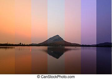 couleur temps, ombre, levers de soleil, /, différent, lac, vue