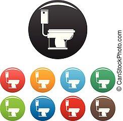 couleur, toilette, ensemble, vecteur, icônes