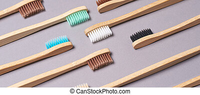 couleur, toothbrushes., différent, ensemble, bambou