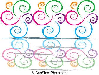 couleur, tourbillons, réflexions