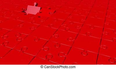 couleur, tourner, puzzle, rouges, morceaux