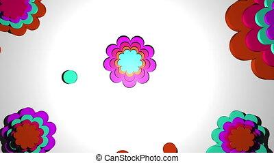 couleur, trois, forme, version, retro, propre, fleurs