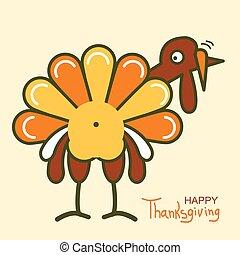 couleur turquie, texte, symbole, thanksgiving, illustration, day., vecteur, heureux