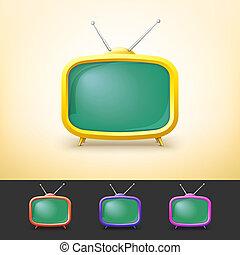 couleur tv, ensemble, dessin animé, style.