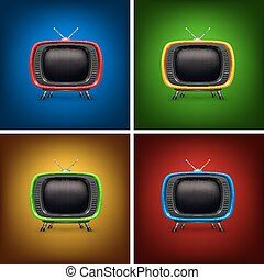 couleur tv, ensemble, retro, fond