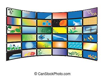 couleur tv, vecteur, moniteurs, 3d