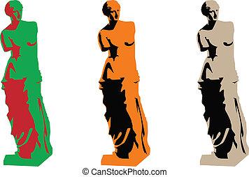 couleur, vénus, vecteur, silhouette, ensemble