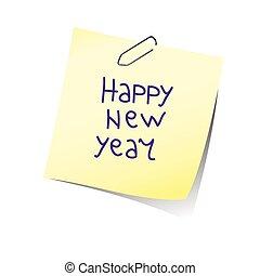 couleur, vecteur, année, nouveau, rappel, heureux