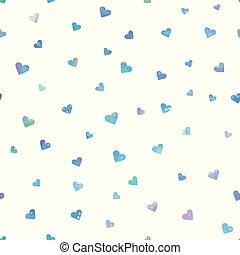 couleur, vecteur, arrière-plan., seamless, modèle, confetti, coeur, blanc
