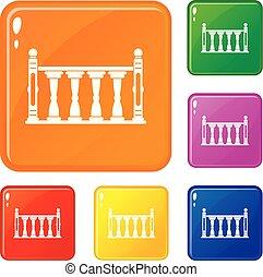 couleur, vecteur, ensemble, balustrade, icônes