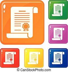 couleur, vecteur, ensemble, certificat, icônes