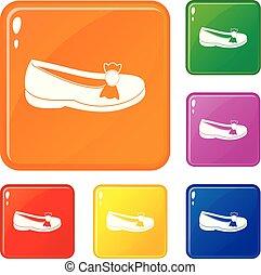 couleur, vecteur, ensemble, chaussure, icônes