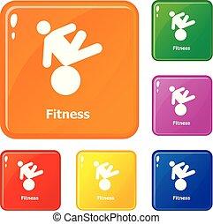 couleur, vecteur, ensemble, fitness, icônes