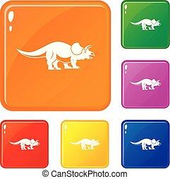 couleur, vecteur, ensemble, styracosaurus, icônes