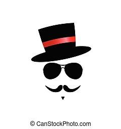 couleur, vecteur, moustache, figure