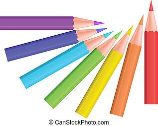 couleur, vecteur, pencils., illustration.