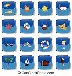 couleur, vecteur, plage, icône