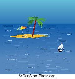 couleur, vecteur, plage, mer