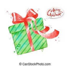 couleur, vecteur, vert, illustration, cadeau