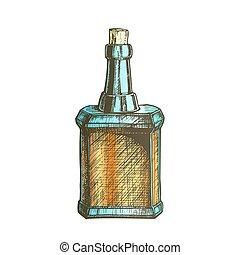 couleur, vendange, casquette, bouchon, vecteur, conception, bouteille, vide, whisky