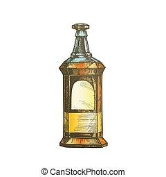 couleur, vendange, rectangulaire, boissons alcoolisées, vecteur, bouteille, whisky