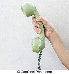 couleur, vendange, téléphone, main, mur, arrière-plan vert, blanc, prise