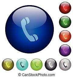 couleur, verre, appeler, boutons