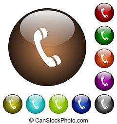 couleur, verre, appeler, téléphone, boutons