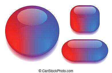 couleur, verre, bouton, ensemble