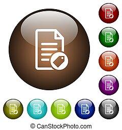 couleur, verre, document, étiquetage, boutons