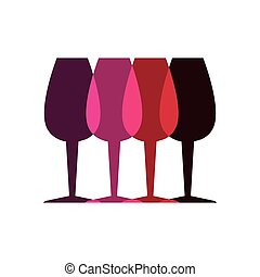 couleur, verre, ensemble, silhouette, tasses
