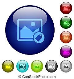 couleur, verre, image, étiquetage, boutons