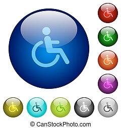 couleur, verre, incapacité, boutons