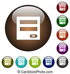 couleur, verre, login, panneau, boutons