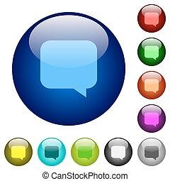 couleur, verre, message, boutons