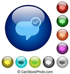 couleur, verre, message, envoyé, boutons