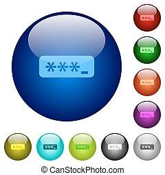 couleur, verre, mot passe, dactylographie, boutons