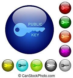 couleur, verre, public, clã©, boutons