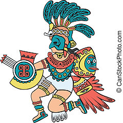 couleur, version, aztèque, dieu