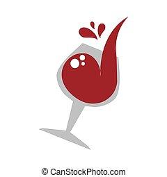 couleur, vin verre, emblème, tasse