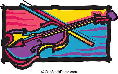 couleur, violon, multi, conception