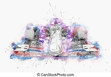 couleur, voiture, encre, -, illustration, une, eau, numérique, formule